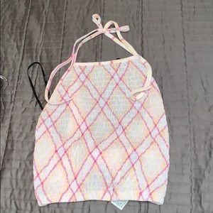 Pink/Yellow Plaid Accordion Triangle Halter Top